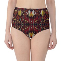 Fantasy Flowers And Leather In A World Of Harmony High-Waist Bikini Bottoms