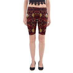 Fantasy Flowers And Leather In A World Of Harmony Yoga Cropped Leggings