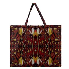 Fantasy Flowers And Leather In A World Of Harmony Zipper Large Tote Bag