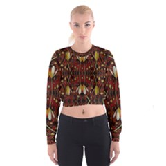 Fantasy Flowers And Leather In A World Of Harmony Women s Cropped Sweatshirt