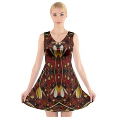 Fantasy Flowers And Leather In A World Of Harmony V-Neck Sleeveless Skater Dress