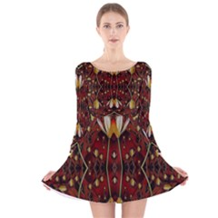 Fantasy Flowers And Leather In A World Of Harmony Long Sleeve Velvet Skater Dress