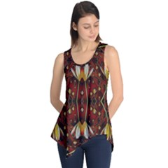 Fantasy Flowers And Leather In A World Of Harmony Sleeveless Tunic