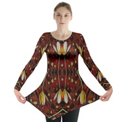 Fantasy Flowers And Leather In A World Of Harmony Long Sleeve Tunic