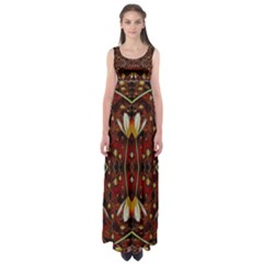 Fantasy Flowers And Leather In A World Of Harmony Empire Waist Maxi Dress