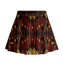 Fantasy Flowers And Leather In A World Of Harmony Mini Flare Skirt