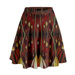 Fantasy Flowers And Leather In A World Of Harmony High Waist Skirt