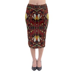 Fantasy Flowers And Leather In A World Of Harmony Midi Pencil Skirt