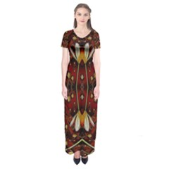 Fantasy Flowers And Leather In A World Of Harmony Short Sleeve Maxi Dress