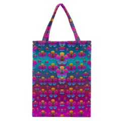 Freedom Peace Flowers Raining In Rainbows Classic Tote Bag