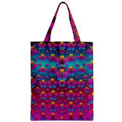 Freedom Peace Flowers Raining In Rainbows Zipper Classic Tote Bag