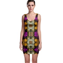 Contemplative Floral And Pearls  Sleeveless Bodycon Dress