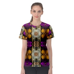 Contemplative Floral And Pearls  Women s Sport Mesh Tee