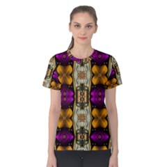 Contemplative Floral And Pearls  Women s Cotton Tee