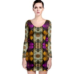 Contemplative Floral And Pearls  Long Sleeve Bodycon Dress