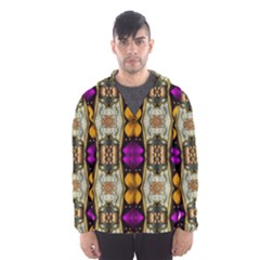 Contemplative Floral And Pearls  Hooded Wind Breaker (men)