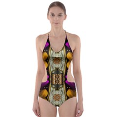 Contemplative Floral And Pearls  Cut Out One Piece Swimsuit