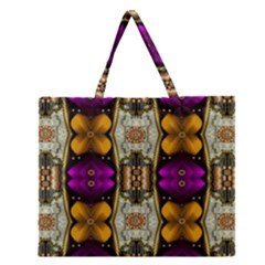 Contemplative Floral And Pearls  Zipper Large Tote Bag