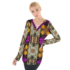 Contemplative Floral And Pearls  Women s Tie Up Tee