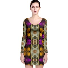 Contemplative Floral And Pearls  Long Sleeve Velvet Bodycon Dress