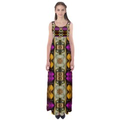 Contemplative Floral And Pearls  Empire Waist Maxi Dress