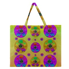 Floral Love And Why Not In Neon Zipper Large Tote Bag