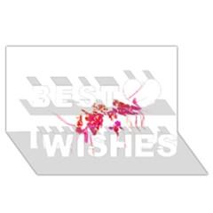 Minimal Floral Print Best Wish 3D Greeting Card (8x4)