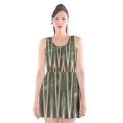 Green Brown Zigzag Scoop Neck Skater Dress