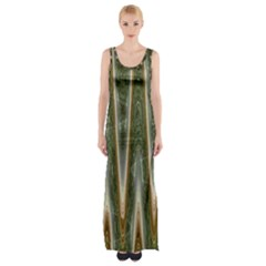 Green Brown Zigzag Maxi Thigh Split Dress