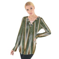 Green Brown Zigzag Women s Tie Up Tee