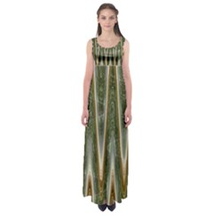 Green Brown Zigzag Empire Waist Maxi Dress