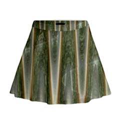 Green Brown Zigzag Mini Flare Skirt