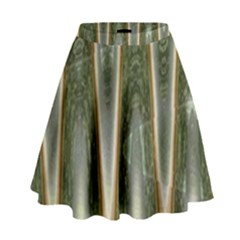 Green Brown Zigzag High Waist Skirt