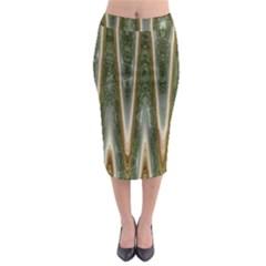 Green Brown Zigzag Midi Pencil Skirt