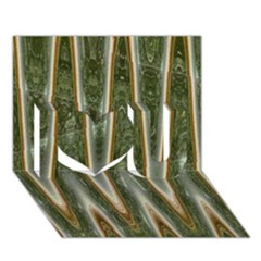 Green Brown Zigzag I Love You 3D Greeting Card (7x5)