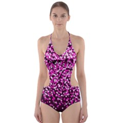 Pink Glitter Rain Cut-Out One Piece Swimsuit