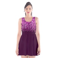 Pink Glitter Rain Scoop Neck Skater Dress