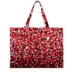 Red Glitter Rain Zipper Large Tote Bag