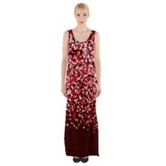Red Glitter Rain Maxi Thigh Split Dress
