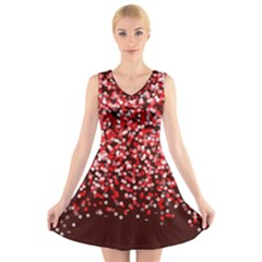 Red Glitter Rain V-Neck Sleeveless Skater Dress