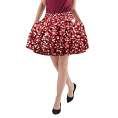Red Glitter Rain A Line Pocket Skirt