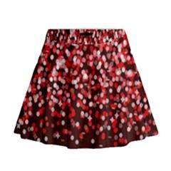 Red Glitter Rain Mini Flare Skirt