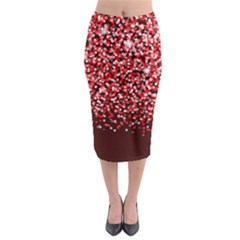 Red Glitter Rain Midi Pencil Skirt