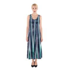 Blue Turquoise Zigzag Pattern Sleeveless Maxi Dress
