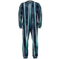 Blue Turquoise Zigzag Pattern OnePiece Jumpsuit (Men)