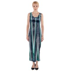 Blue Turquoise Zigzag Pattern Fitted Maxi Dress