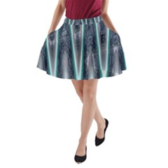 Blue Turquoise Zigzag Pattern A-Line Pocket Skirt