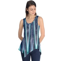 Blue Turquoise Zigzag Pattern Sleeveless Tunic