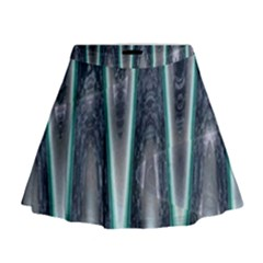 Blue Turquoise Zigzag Pattern Mini Flare Skirt