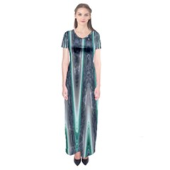 Blue Turquoise Zigzag Pattern Short Sleeve Maxi Dress